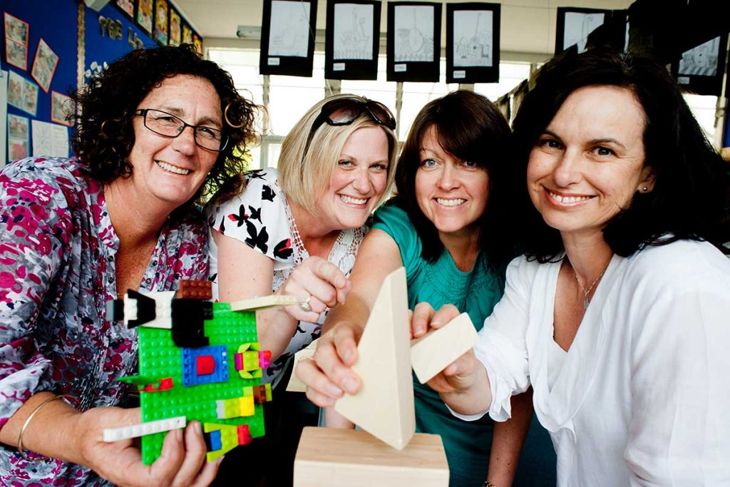 These teachers in Auckland work closely to build a better learning environment. (L to r) Beginning teacher (BT) Yvette Ashby-King, tutor teacher Kimberley Kelly, BT Melinda Clow and tutor teacher Maree Londeen.