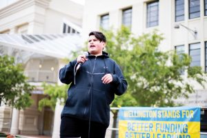 Julian Dennison at Educators Day rally.